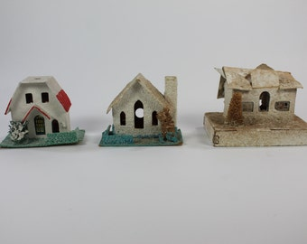 Mini Holiday Houses, Decorative Homes, Vintage Paper House, Paper Christmas Village Homes, DIY Repair, FREE First Class Shipping