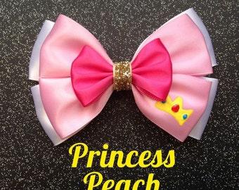 Princess Peach Mario Bros inspired bow