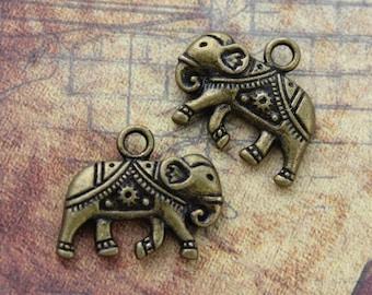 10 Elephant Charms Elephant Pendants Antiqued Bronze Double Sided 13 x 20mm
