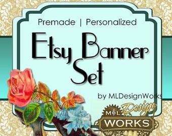 Vintage Etsy Banner Set--Premade Etsy Banner--Rose Etsy Banner Set--Lace Etsy Banner Set - Etsy Shop Banner - Banner and Avatar Set - 153