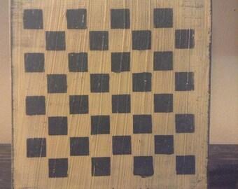 Primitive Mustard and Black Americana Checkerboard