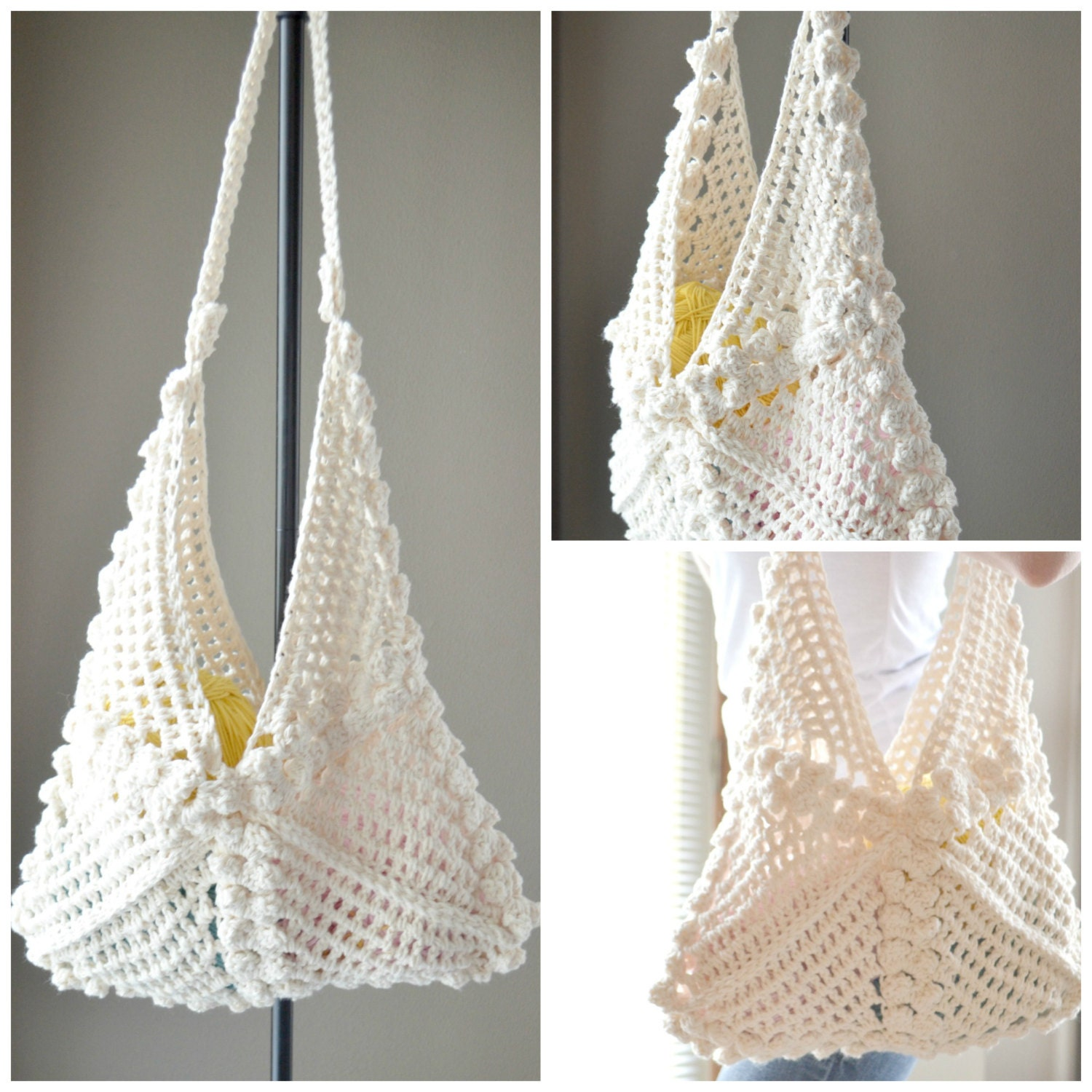 Crochet Hobo Bag Pattern : CROCHET PATTERN Hanna Hobo Bag crochet bag by CassJamesDesigns