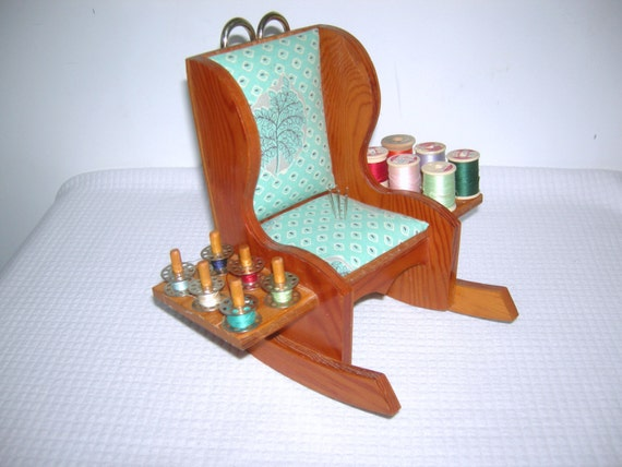 Handmade Vintage Sewing Rocking Chair Caddy Wooden Rocking