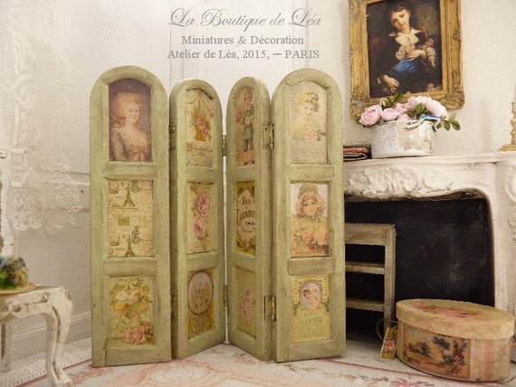 paravent shabby rose campagne chic accessoire de maison. Black Bedroom Furniture Sets. Home Design Ideas