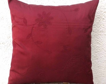 Maroon Pillow, Embroidered pillow, Silk Dupioni Pillow,  16 inch Pillow, pillow Cover, Floral Embroidery, Accent Pillow, Throw Pillow - of7A