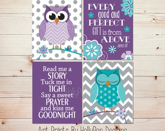 Every Good and Perfect Gift Verse Baby Girl Owl Nursery Art Purple Turquoise Nursery Decor Nursery Art Prints Read Me A Story Decor #1312