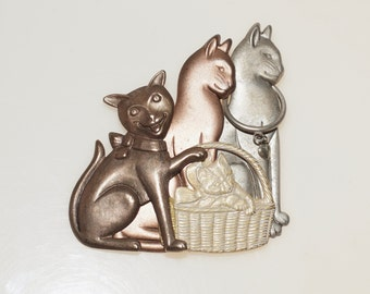 """Tri Tone Copper Brass Pewter Embossed Cat Kittens 2.75"""" Pin Brooch"""