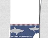 Shark Themed Custom Notecard - Shark Party Thank You - Digital Design or Printed Notecards - FREE SHIPPING