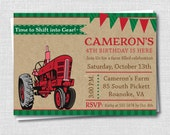 Red Tractor Birthday Party Invitation - Tractor Birthday Party - Digital Design or Printed Invitations - FREE SHIPPING