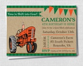Orange Tractor Birthday Party Invitation - Tractor Birthday Party - Digital Design or Printed Invitations - FREE SHIPPING