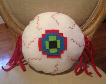 Terraria Inspired Eye of Cthulhu, Mode Boss Fleece Pillow, Doll or Toy, Handmade
