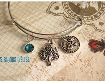 Ohm and Tree Wire Bangle Bracelet Expandable Bracelet Friendship Bangle