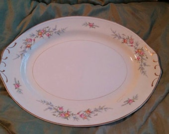 On Sale Beautiful Homer Laughlin Ferndale Eggshell Nautilus Serving Platter with Gold Rim