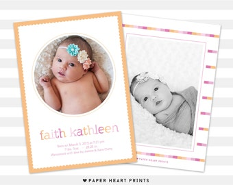 Girl Baby Announcement, Girl Birth Announcement, Double Sided - Faith