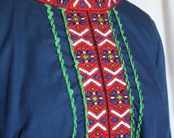 SALE - Vintage 1970s Tribal Blue Mini Dress / Tunic