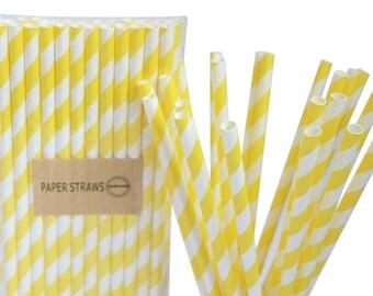 Party Paper Straws - Diagonal Yellow Stripes