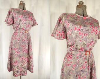 Vintage 1970s Dress - 70s Pink Grey Dress, 1940s Style Plus Size Dress, 40s Dress XL, Large Boho Dress