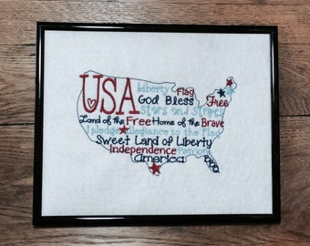 4th of July, USA Word Art, Patriotic Sign, Americana Sign, Patriotic Plaque, Americana Plaque, Patriotic Word Art, Military Family Gift