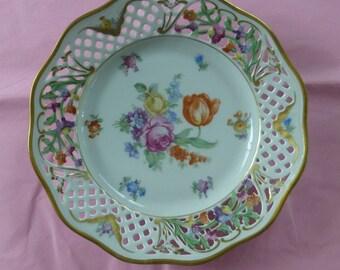 Vintage Schumann Bavarian Dresden Reticulated Floral Plate - Marked on Back