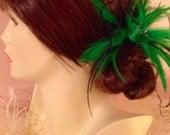 Kelly Green & Black ostrich feather fascinator hair clip accessory bridal derby