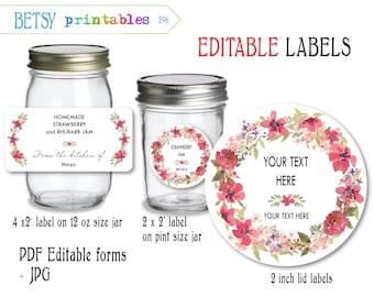 Labels for canning - Jar labels - Mason Jar lid labels - PDF editable & JPG -  Instant Download 296