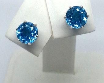 2.65ctw Marambaia Swiss Blue Topaz Solid 10K White Gold 6 Prong Earrings