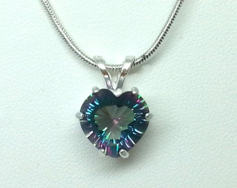 4.25ct 11mm Mystic Heart Topaz Sterling Silver Necklace