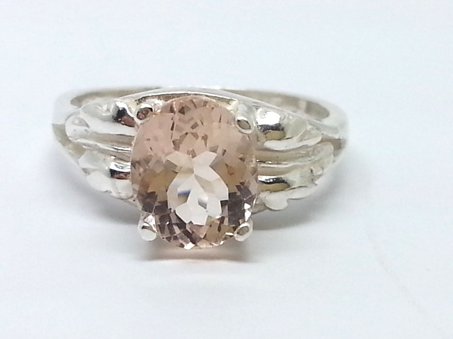 1 41ct oval morganite sterling silver ring size 5