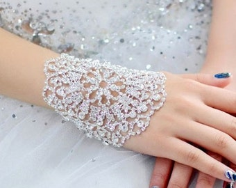 Silver Swarovski Preciosa Crystal adjustable Rhinestone Bracelet Arm Armlet Bangle Bridal Wedding Jewelery Gift