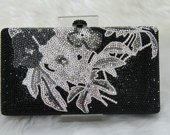 Swarovski ELEMENTS Tribal Floral pattern Minaudiere Black Grey Silver Bridal Wedding Crystal Party Metal case box clutch purse bag