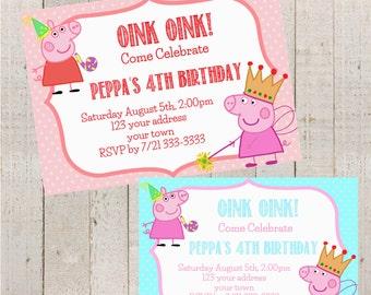 Peppa Pig Birthday Invitation- Sesame Street Birthday Invitation- Birthday Invitation- George Pig- Pig Birthday-Birthday Party