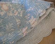 Amazing antique hand made/stitched French boutis quilt reversable