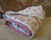 Amazing Provencal print large antique hand made/stitched French boutis quilt reversable and patched. 216cm x 204cm