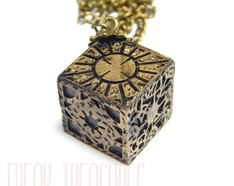 Hellraiser lament configuration horror resin necklace pinhead, cenobite, lament box