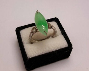 Jade ring, silver rings, wire wrapping, silver jade ring
