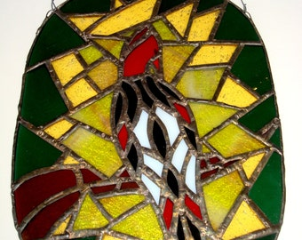 SOLD Vintage Stained Glass Bird Hanging Panel 1970's