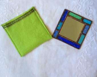 HANDMADE POCKET MIRROR Turquoise,Green and Blue Colors with Unique Handcrafted Case.Tiffany Stained Glass Hand Mirror,Sweet Girl/Womens Gift