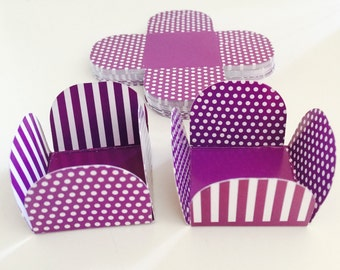 25 Purple Polka Cake Ball - Cake Pop - Chocolate truffle wrapper papers, liners or favor box.