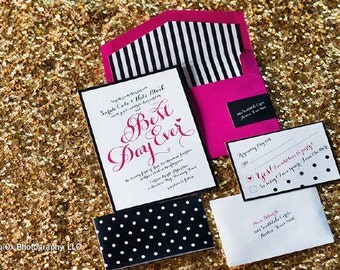 Hot Pink, Black and White Trendy Wedding Invitation Ensemble (price per each)