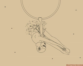 Aerial hoop Limited Edition print - Lyra - vintage circus Art - aerialist aerial high flyer acrobat 1920s trapeze Art illustration