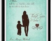 Mothers Day Gift from Son - A Mother Holds Her Son's Hand, Gift For Mom - Mother of Groom Gift,  Personalized Mother's Day Gift,