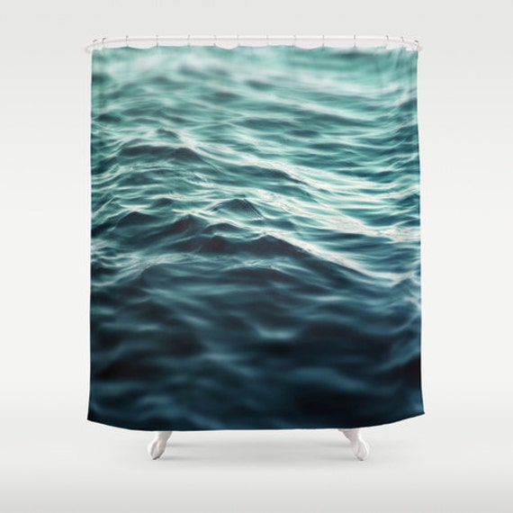 Dark Waters 3 Shower Curtain Turquoise Blue Green Surf Ocean Decor Beach Bungalow Hanging