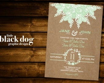 Kraft paper & Mint Green Floral Wedding Invitation