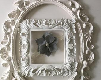 Gray Felt Flower Clip