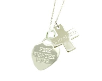 Sterling Silver Firefighter Wife Necklace GS - (Free Shipping)