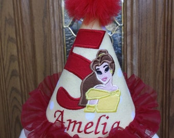 Girls 1st Birthday Party Hat - Princess Belle Birthday Hat -  Princess Birthday Hat