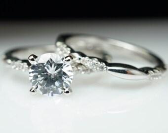 Petite Vintage Style Solitaire Diamond Engagement Ring & Wedding Band Complete Bridal Set Graceful Intricate Diamond Engagement Ring Set