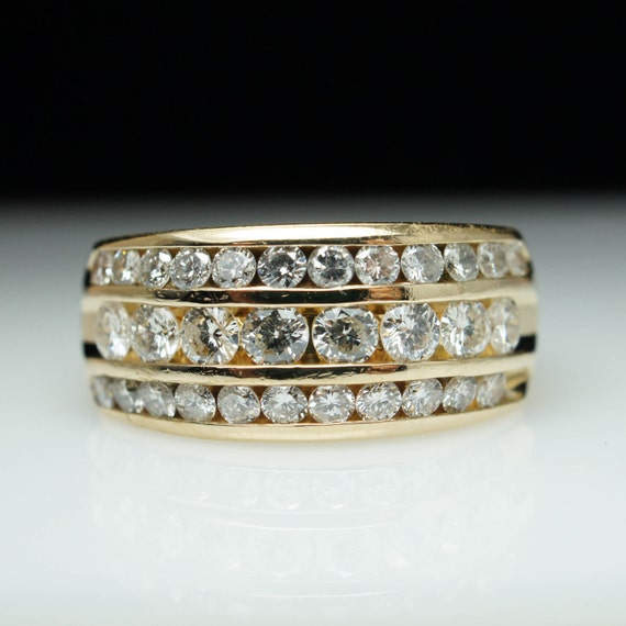 holiday sale vintage three row 103ctw diamond wedding band 14k yellow gold diamond band - Three Band Wedding Ring