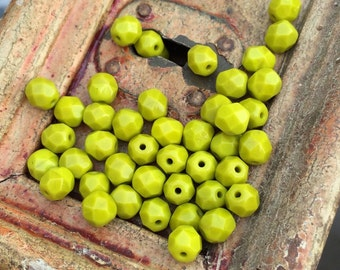 Opaque olivine , 6mm Czech fire-polished glass faceted  round x 25 pcs