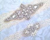 Wedding Garter Set - Vintage Lace Garter with Pearl and Rhinestone Applique - Garter Toss
